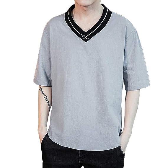 Men Cotton Blend Summer V-Neck Short Sleeve T-Shirt Tops Plain Solid Casual Tees