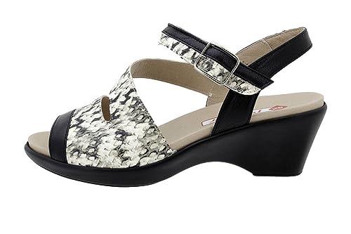 PieSanto Sandalia Plantilla Extraíble Ante Metal Negro Negro Negro 180862 Zapato fd7953