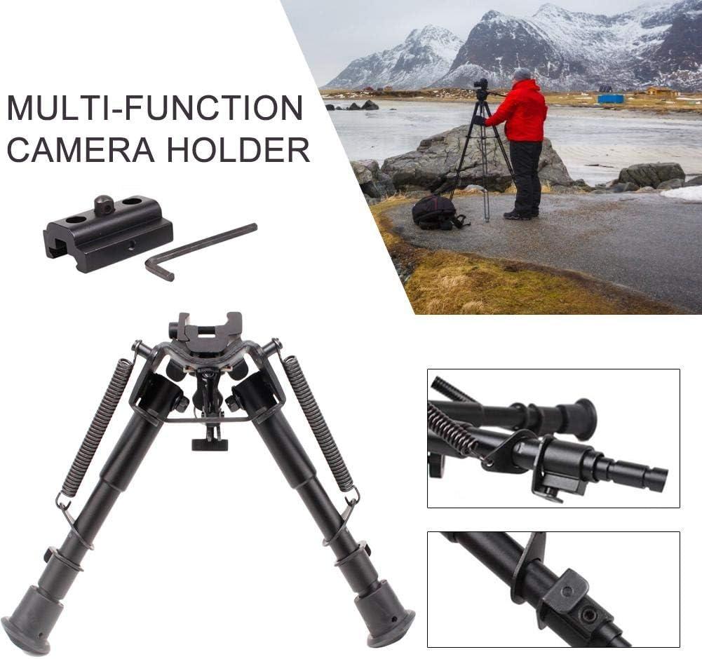 Telescopic Camera Bipod Aluminum Outdoor Camera Stand Quick Release Retractable Metal Bipod 20MM Holder for Uneven Terrain,6-9 Inch