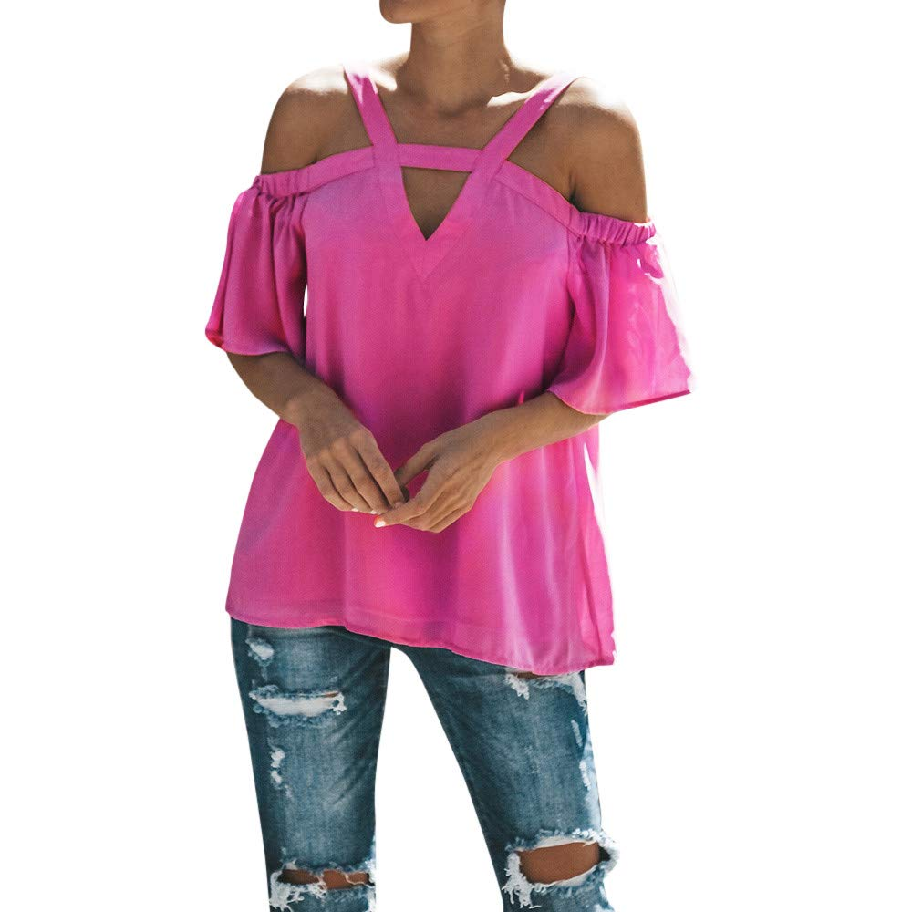 Fartido Tee,Ladies Summer T-Shirt,Shirt for Women,Women's V-Neck Off Shoulder Short Sleeved Blouse Hot Pink