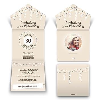 Lichtgirlande Rosa Lasergeschnittene Geburtstag Einladungskarten Einladungen