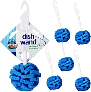 Compac's Dish Wand China Scrubbing Sponge - Cleans Your Dishes & Glassware Like Magic, Unique Round Ball Shape for 360 Degree Gentle Cleaning (Pack of 6)