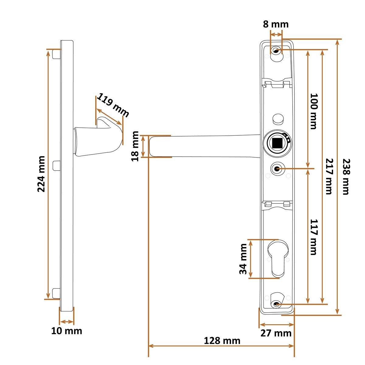 Creme RAL 9001 2x Griff Türgriff Türdrücker Türklinke Drückergarnitur DHS 92mm