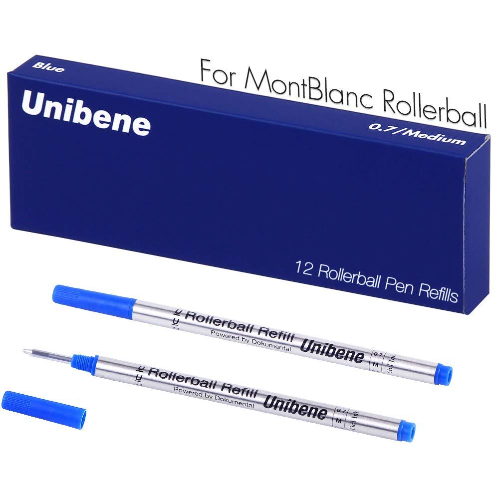 Unibene Montblanc Compatible Gel Ink Rollerball Refills 12 Pack, 0.7mm Medium Point - Blue, Rolling Ball Refills Fit Mont Blanc Rollerball/Fineliner Pen by Unibene (Image #6)