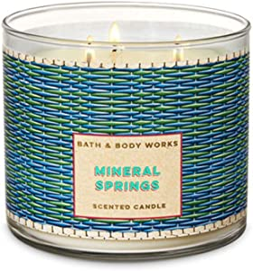 Bath and Body 3 Wick Scented Candle 2018 Mineral Springs 14.5 Ounce with Essential Oils