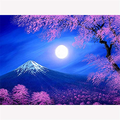 Diy 5D Diamond Painting By Number Kit, Full Drill Snow Mountain Cherry Blossom?Embroidery Cross Stitch Arts Craft Canvas Wall Decor, 19.7X27.6 Inch