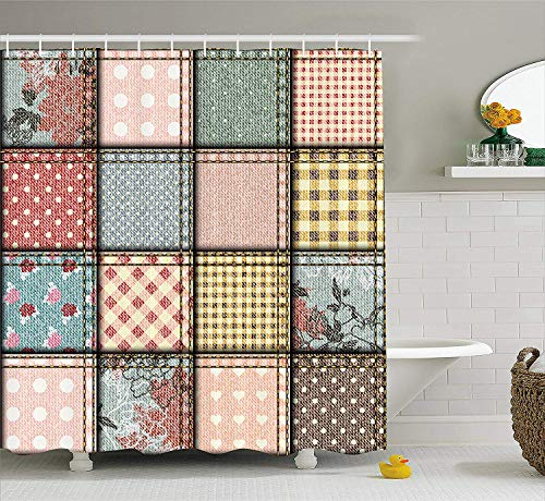 Jimmy P Shabby Chic Shower Curtain Patchwork Denim Seem Fabric Pieces with Stitches Square Tile Digital Print Fabric Bathroom Decor Set with Hooks 60X72 - Curtains Patchwork Shabby