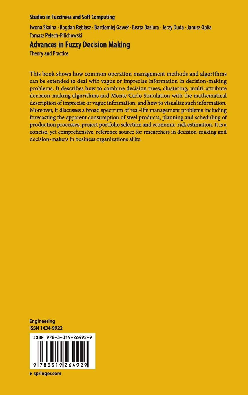 Advances in Fuzzy Decision Making: Theory and Practice
