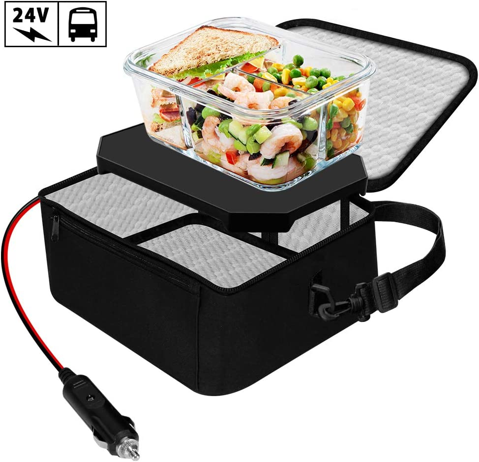 TrianglePatt Personal Portable Oven,24V Food Warmer Portable Mini Microwav for heated Meals,Upgraded Lunch Warmer Box with Bag for Truck,Crane,Potlucks,and Home Kitchen