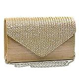 Womens Envelope Flap Clutch Handbag Evening Bag Purse Rhinestone Crystal Glitter Sequin Party Gold
