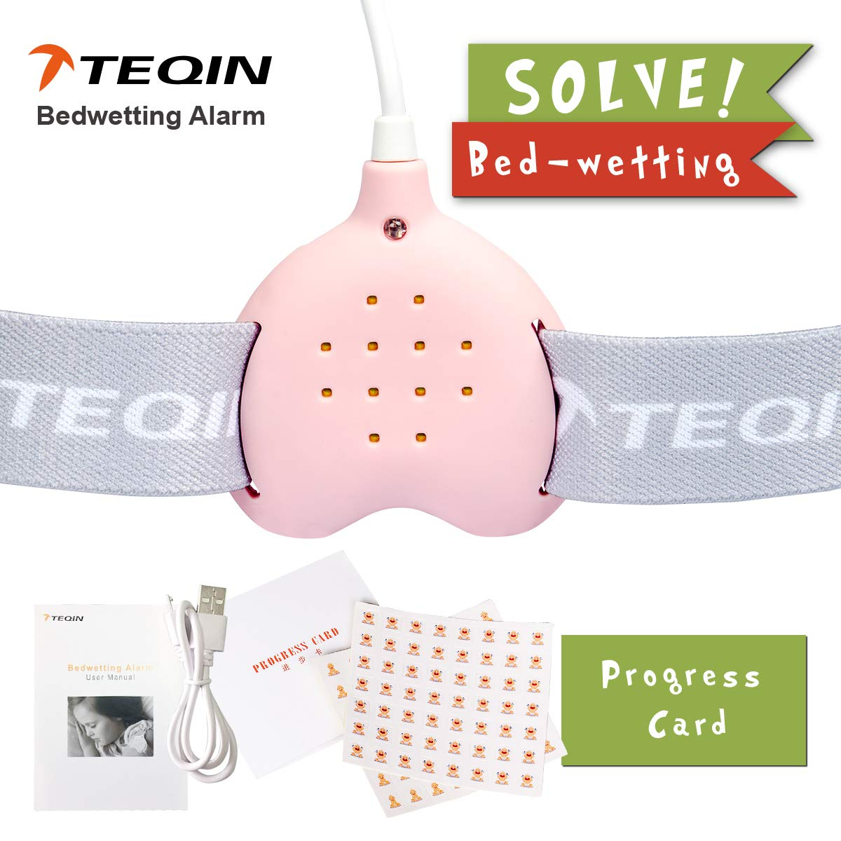 3in1 Bed Child Rechargeable Bedwetting Alarm Enuresis Urine Detection Loud Sound and Strong Vibration for Bedwetters Deep Sleepers, Potty Training for Boys Girls Kids(Pink)