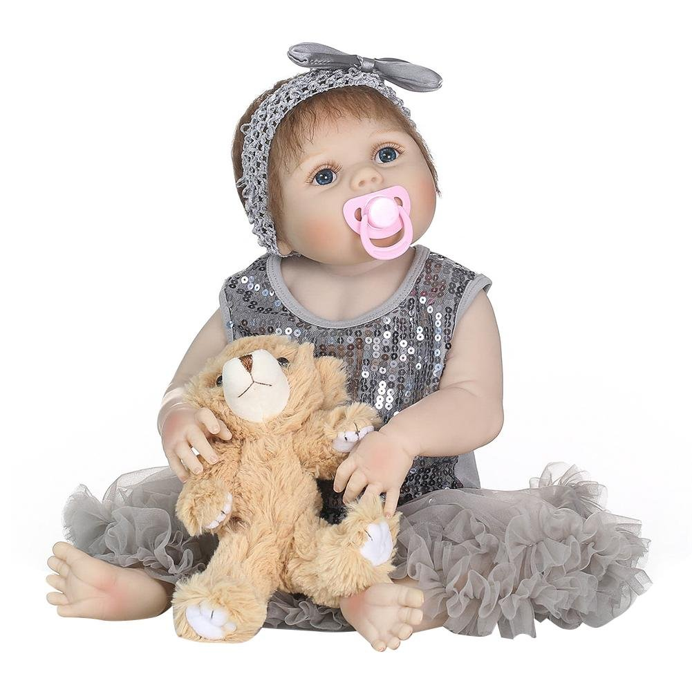 Bébé Reborn Bambola Morbida in Silicone 55 cm Mignon Bebe Bambola Ragazza in Abito Grigio Reborn Baby Doll