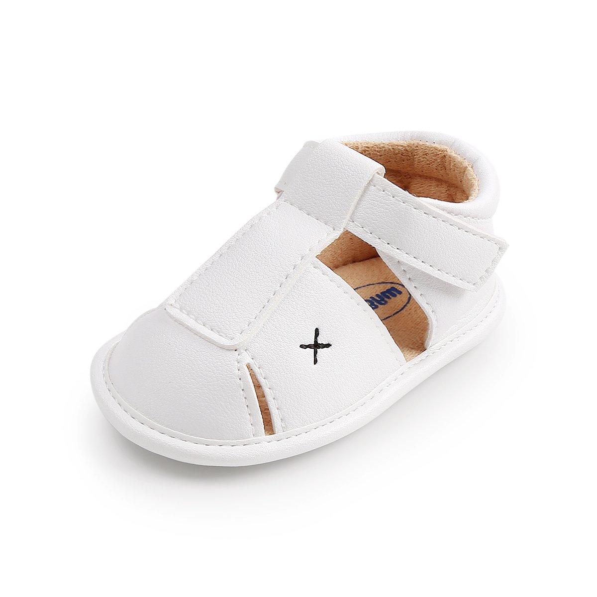 LUWU Baby Boy Girls Anti-Slip Sole Sandals Crib Shoes (6-12 Months, White) by LUWU