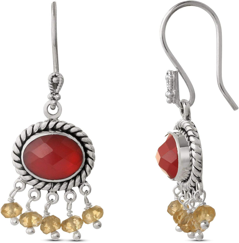 Red Onyx Dangle Earrings .925 Sterling Silver Earrings