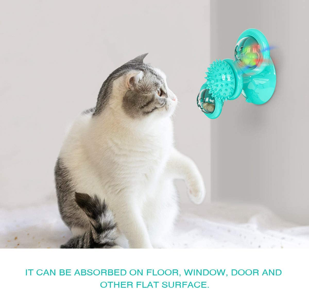 Blue Dotoner Windmill Cat Toy with Catnip Ball and LED Ball Turntable Teasing Interactive Toys Funny Kitten Windmill ball Massage Scratch Brush