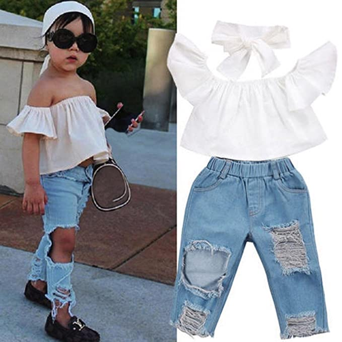 cf8f9aa9a6f Amazon.com  Laimeng world 3Pcs Toddler Baby Girl 3Pcs Off Shoulder Crop Tops+Hole  Denim Jeans+Headband Outfits Clothes Set Black  Clothing