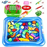 53Pcs Bath Toy Magnetic Fishing set, 1 Fishing Pond 2 Poles 50 Waterproof Floating Fish Floor Games for Basic Educational Development Learning