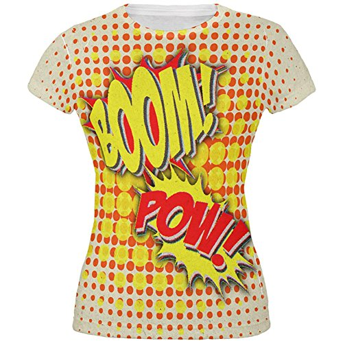 Halloween Boom Pow Vintage Comic Book Costume All Over Juniors T Shirt Multi (Comic Book Pow Costume)