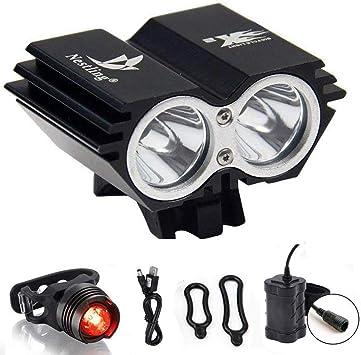 QITAO Luz Delantera para Bicicleta, Recargable por USB, LED ...