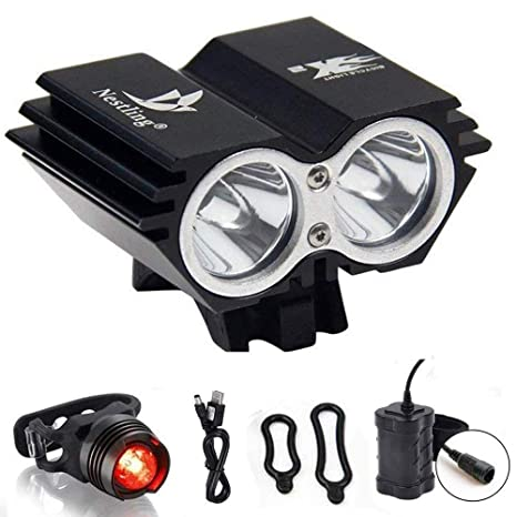 5000 Lumen 8.4V Rechargeable Cycling Light Bicycle Bike LED Front Rear Lamp Set
