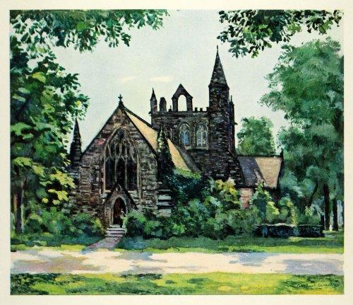 1945 Print Main Line Church Pennsylvania Religion Bernard Lamotte Oil Painting - Original Color Print
