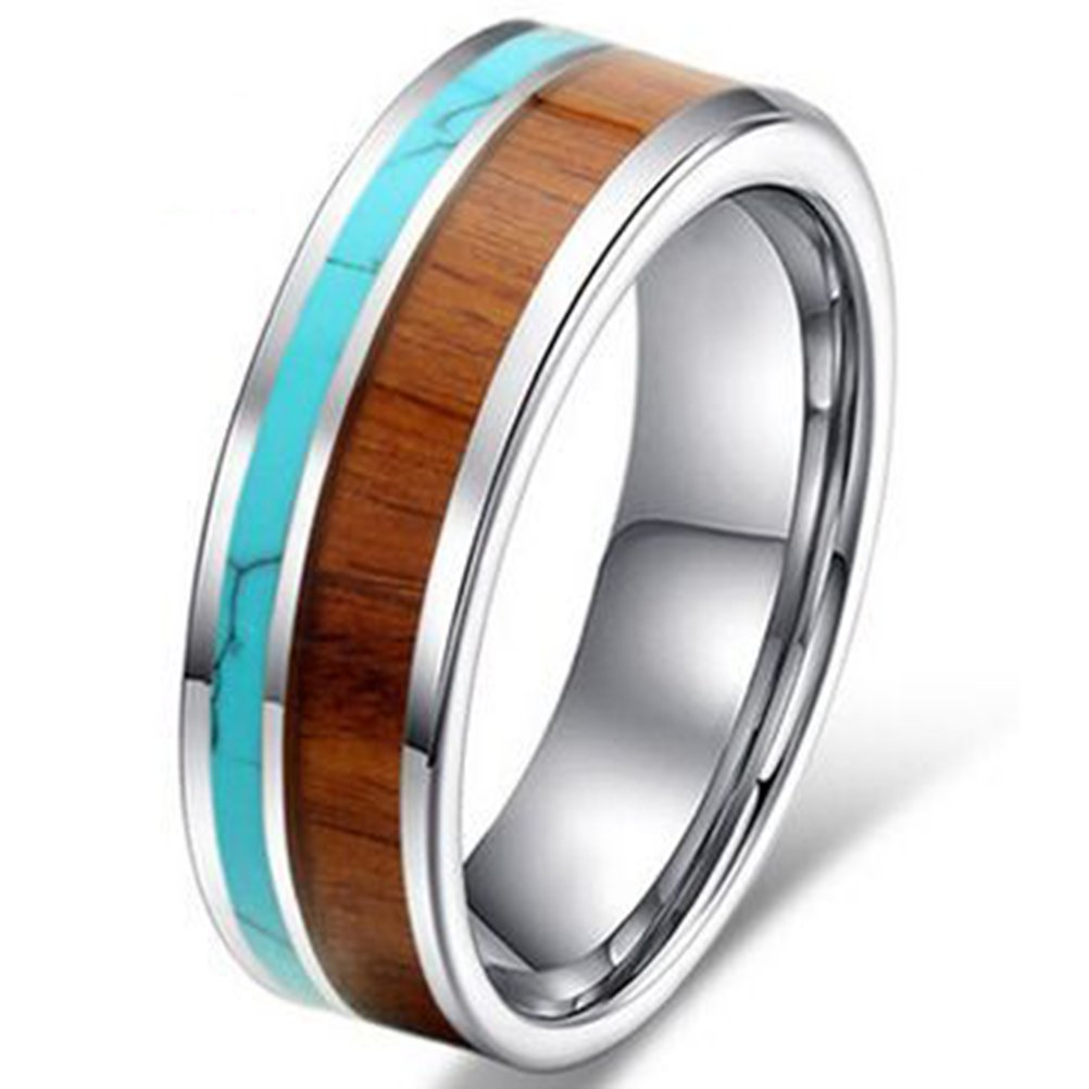 Womens 6mm Tungsten Ring Vintage Wedding Engagement Band with Koa Wood Solid Turquoise Flat Top For Her Size 5
