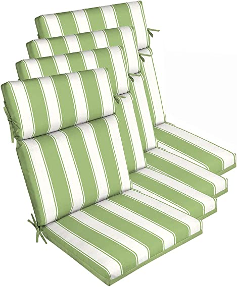 Cheap Set of 4 Outdoor Chair Cushion 21″ W x 44″ L x 4.5″ H. Polyester Green Stripe Fabric outdoor chair cushion for sale