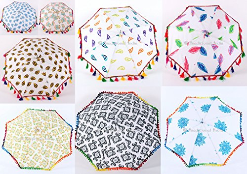 Beautiful Hippie Indian Mandala Sun Shade Folding Decorative Umbrella, Home Decor, Boho Decorative Umbrella Throw 20 Pcs Lot By Traditional - Sunburn India