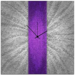 Metal Art Studio Clock Contemporary Decor, Large, Violet Stripe
