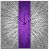 Modern Wall Clock 'Violet Stripe Clock' by Nicholas Yust - Contemporary Decor Large Abstract Clocks on Metal