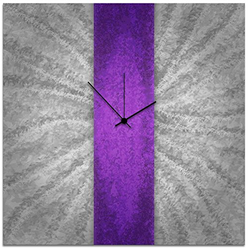 - Metal Art Studio Violet Stripe Clock Large Contemporary Decor,