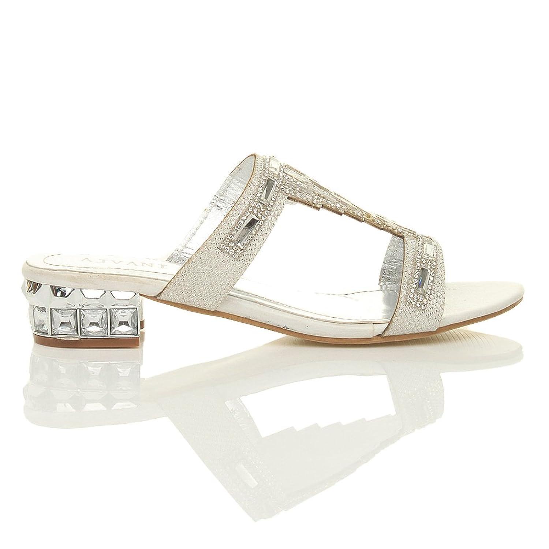 Womens ladies low block heel diamante gem evening slip on mules flip flops sandals shoes