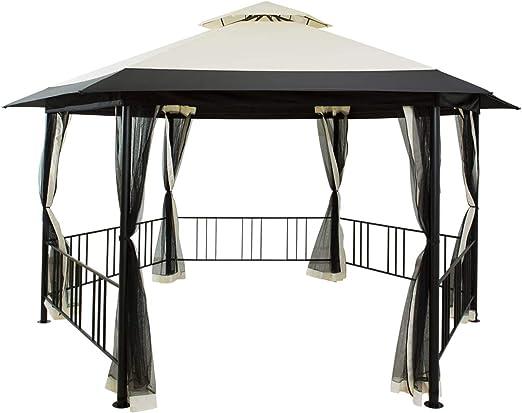 WSN Hexagonales Frame Gazebo, Malla con Cortinas, Patio Tiendas de campaña, a Prueba de Viento al Aire Libre de la Tela del pabellón de 15.6 x 9.35: Amazon.es: Hogar
