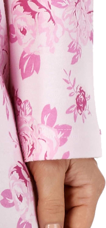 Slenderella Le Signore 40// 101 cm Lungo Grande Fiore Rosa Design 100/% 180GSM Morbido Cotone Flanella Manica Lunga Girocollo Camicia da Notte Taglia Piccola Media Grande XL