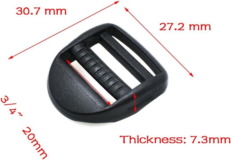 color negro 10pcs pl/ástico escalera Lock Slider hebillas correas de mochila