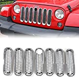 Automotive : Chrome Honeycomb ABS Front Grill with key hole Insert Grille Cover Trim for 2007 - 2017 Jeep Wrangler JK 2-Door & 4-Door