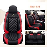 OUTOS Luxury Leather Lucky Deer Auto Car Seat Covers 5 Seats Full Set Universal Fit Black-Red
