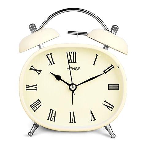 Reloj despertador de mesa con movimiento de cuarzo silencioso y campanillas gemelas estilo retro vintage. Reloj despertador para escritorio de ...