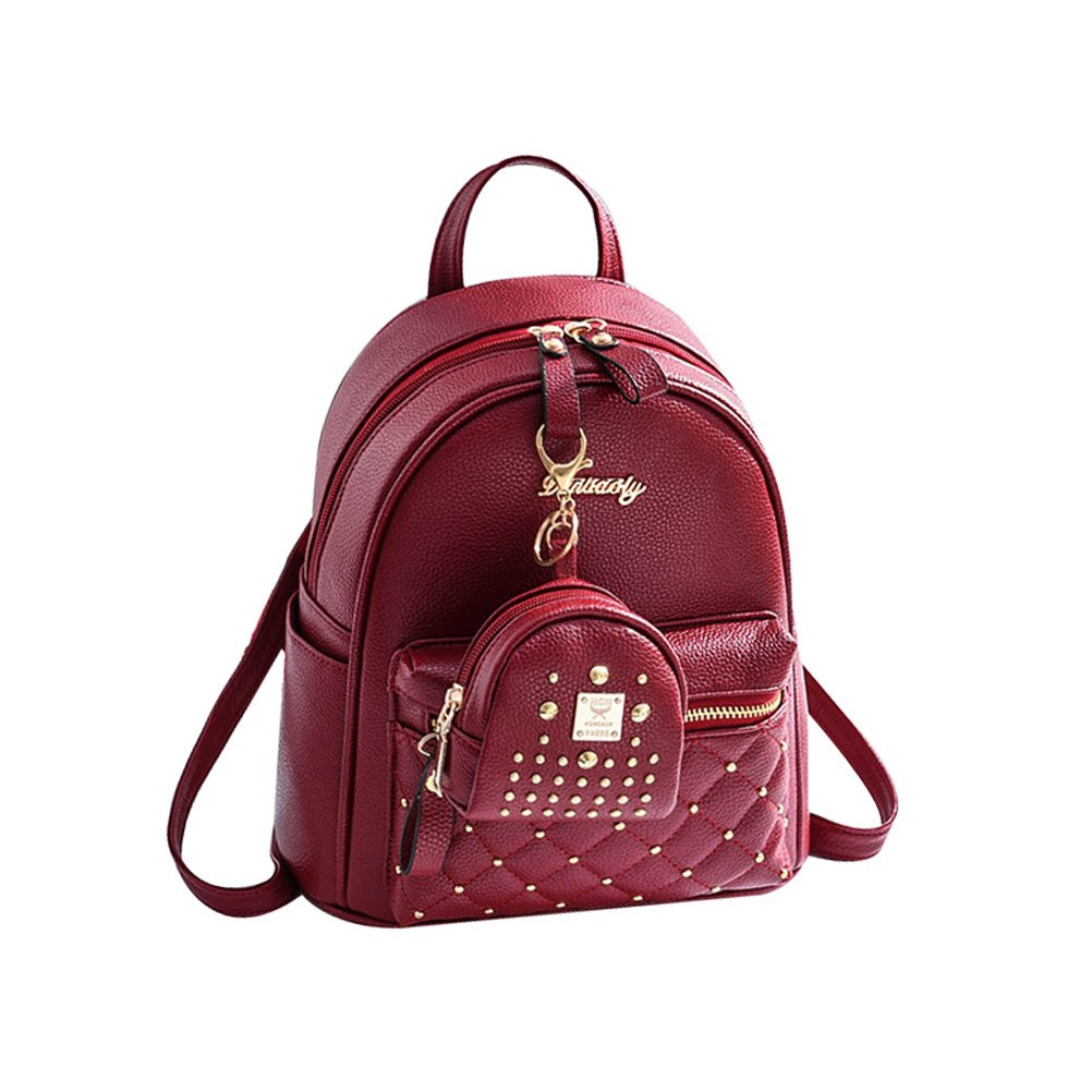 Donalworld Women PU Leather Preppy School Bag Vintage Shoulder Backpack Donalworld-DWBAG0588D