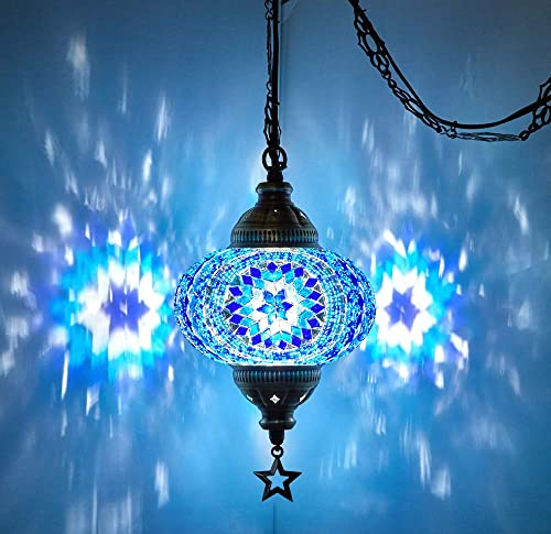 20 Colors DEMMEX 2019 Swag Plug in Turkish Moroccan Mosaic Ceiling Hanging Light Lamp Chandelier Pendant Fixture Lantern, Hardwired OR Plug in with 15feet Cord Chain PlugIn1
