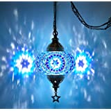 (20 Colors) DEMMEX 2019 Swag Plug in Turkish Moroccan Mosaic Ceiling Hanging Light Lamp Chandelier Pendant Fixture…