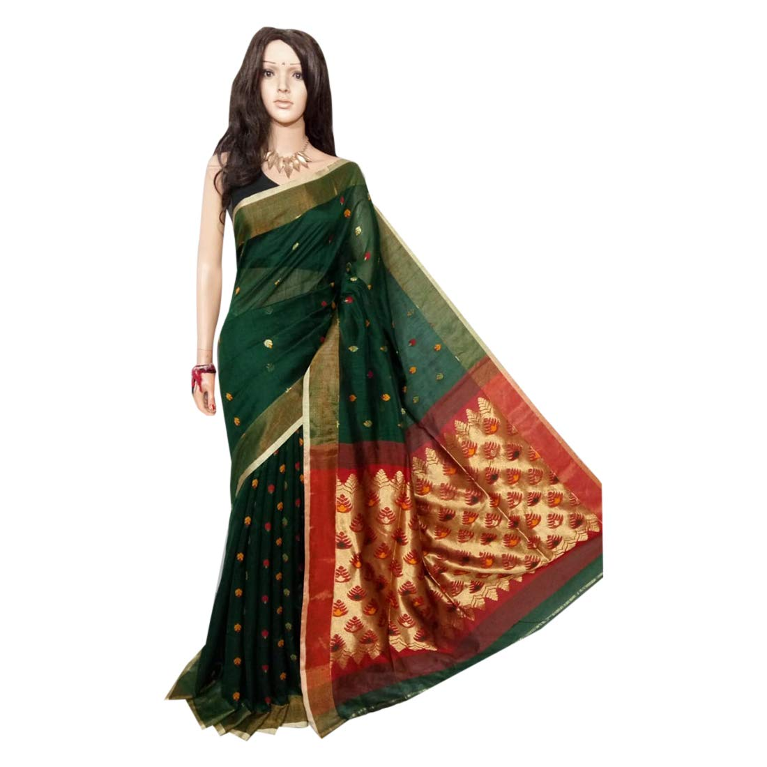 Indian Saree Green Ethnic dhakai jamdani Sari Designer Collection Sari Party Formal Women Wear 105a