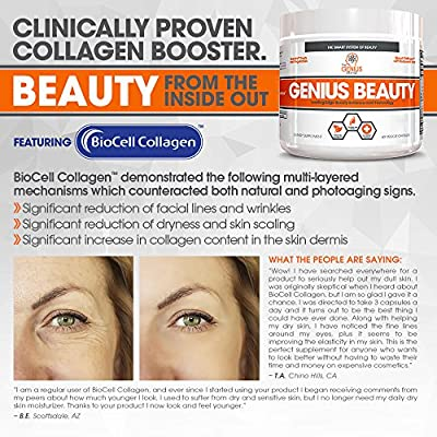 Genius Beauty - Hair Skin and Nails Vitamins + Detox Cleanse + Anti Aging Antioxidant Supplement, Collagen Pills w/Glutathione & Astaxanthin for Wrinkles, Hair Growth & Skin Whitening - 60 Capsules