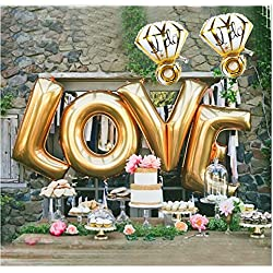 "B-G LOVE (27 INCH) and""I Do"" Diamond Ring (27 INCH) Extra Large Balloon Set, Romantic Wedding, Bridal Shower, Anniversary, Engagement Party, Vow Renewal H011"