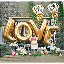 "Ruimeier Love (40 Inch) and ""I do"" Diamond Ring (27 Inch) Extra Large Balloon Set, Independence Day, Festival, Romantic Wedding, Bridal Shower, Anniversary, Party Decor, Vow Renewal (Golden) H007"