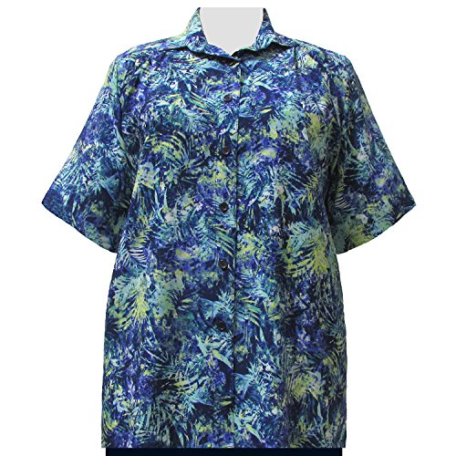A Personal Touch Women's Plus Size Blue & Green Floral Short Sleeve Button-Down Blouse - 6X