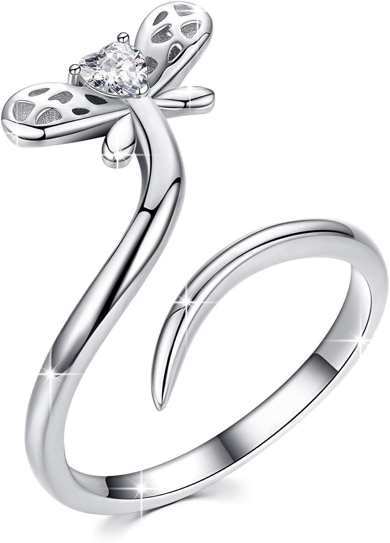 PRAYMOS 925 Sterling Silver Ring Stacking Ring Thumb Ring for Women Animal Theme Size 7 to 9 US