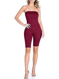 4f0e0ff2715c BEYONDFAB Women s Biker Short Pant Tube Jumpsuit One Piece Short Catsuit
