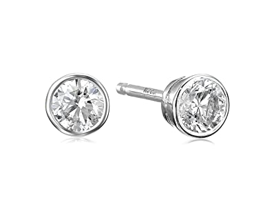 1107ffdd1 Amazon.com: 14k White Gold Bezel Set Diamond with Friction Post and Back Stud  Earrings (1/4cttw, K-L Color, I2-I3 Clarity): Jewelry