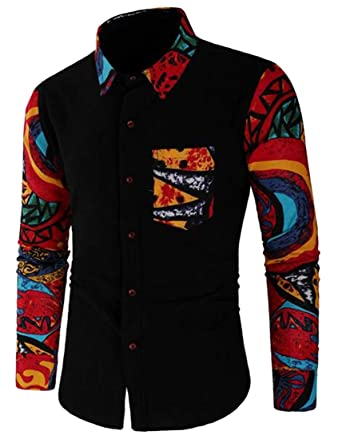 XiaoTianXin-men clothes XTX Mens Regular Cotton Short-Sleeve Casual Button Down Shirt Top Tees